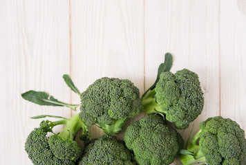 broccoli on the wooden background.top view.copy space