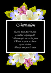 elegant frame of flowers on a black background. For the design of cards, invitations, greeting cards, fabrics, banners. For birthday, wedding, party, Valentine's day, holiday.