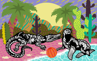 Crocodile with seal on the beach with palm trees
