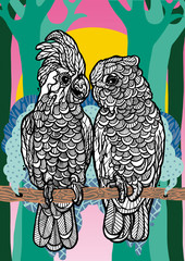 Two Parrots with bold and graphic elements