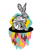 Space rabbit with drips and bubbles