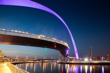 DUBAI, UAE - FEBRUARY, 2018: Dubai Water Canal arch bridge or Tolerance bridge