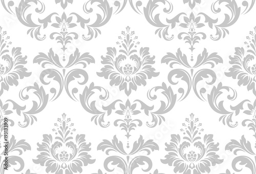Wallpaper In The Style Of Baroque A Seamless Vector Background White And Grey Fl