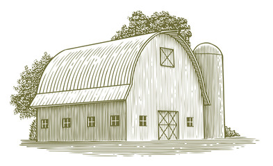 Woodcut Round Roof Barn