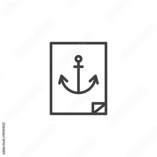 Navy Anchor Sticker Outline Icon Linear Style Sign For Mobile