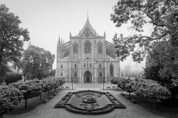 Misty St. Barbara's Church in Kutna Hora, Czech Republic