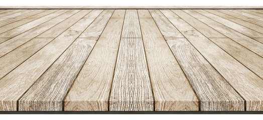 Empty brown wooden table top isolated on white background, Idea for display or put your products.