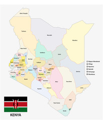 Kenya administrative and political vector map of the Republic of Kenya with flag