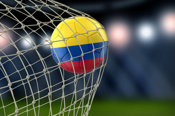 Colombian soccerball in net