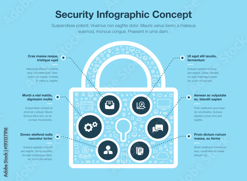 Security Infographic Concept With Padlock Symbol Isolated On Blue