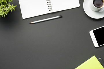 Office desk table with supplies. Flat lay Business workplace and objects. Top view. Copy space for text