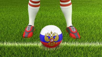 Man and soccer ball  with Russian flag