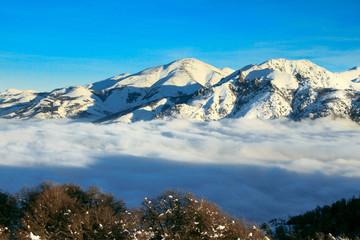 San Carlos de Bariloche, Argentina, July 2017- View Cerro Otto above the clouds