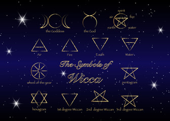 Golden Set of Witches runes, wiccan divination symbols. Ancient occult gold symbols, isolated on stars dark night sky background. Vector illustration.