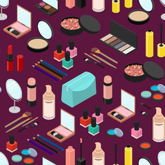 Cosmetic Products Seamless Pattern Background Isometric View. Vector