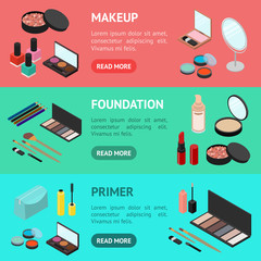 Cosmetic Products Banner Horizontal Set Isometric View. Vector