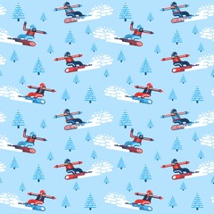 Boys and girls snowboarders -  seamless pattern in the flat style. Enabled in the swatches panel.