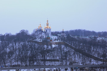 Winter view of one of the churches in Kyievo-Pechers'ka lavra. It is a historic Orthodox Christian monastery. Morning landscape photo. Kyiv, Ukraine