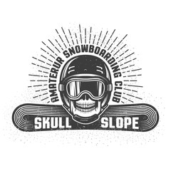 Snowboarding retro logo with skull in helmet and sports goggles. Worn textures and dots on separate layers and can be disabled.
