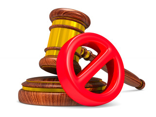 wooden gavel and sign forbidden on white background. Isolated 3D illustration