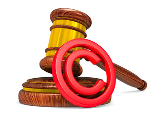 wooden gavel and sign copyright on white background. Isolated 3D illustration
