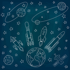 A set of vectors on the theme of the cosmos. Planets and satellites, a rocket flying into space. Drawing chalk on a blackboard. Vector illustration. Template on the theme of space