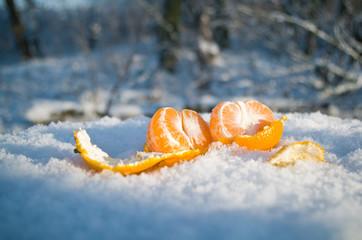 Peeled mandarin orange on a snow