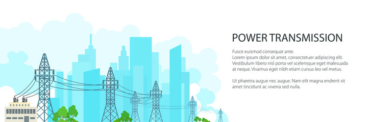 White Banner with High Voltage Power Lines Supplies Electricity to the City , Electric Power Transmission on on the Background of the City, Vector Illustration