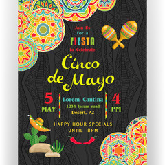 Cinco De Mayo poster template customized for invitation for fiesta party.