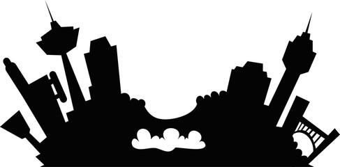 Cartoon skyline silhouette illustration of the downtown of the city of Niagara Falls, Ontario, Canada.