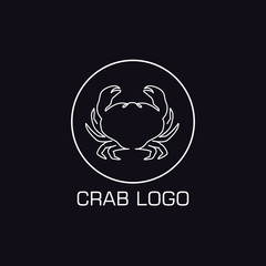 One line crab logo. Minimalistic illustartion. Sea animal icon