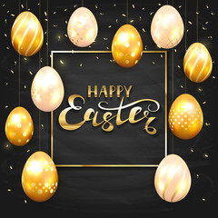 Set of golden Easter eggs on black chalkboard background