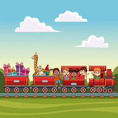 kids on train over landscape vector illustration graphic design