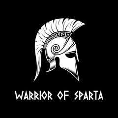 Spartan helmet on a black background.