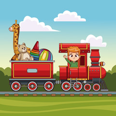 Boy driving train with toys vector illustration graphic design