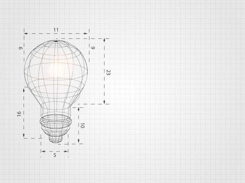 Wireframe lightbulb on grid represent technology concept and innovation. Technology Background. Vector Illustration.