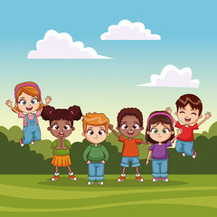 Kids jumping in the park vector illustration graphic design