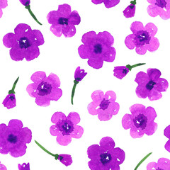 Hand painted purple flowers. Seamless watercolor pattern