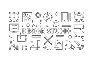 Design studio vector line illustration or banner