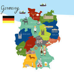 Germany map hand draw vector. illu