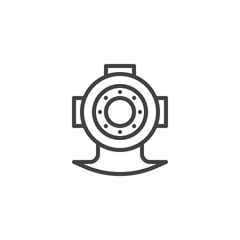Diving helmet outline icon. linear style sign for mobile concept and web design. simple line vector icon. Symbol, logo illustration. Pixel perfect vector graphics