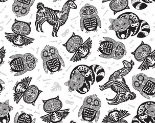 Owl, penguian, llama and raccoon sugar skull in black and white colors. Vector background illustration