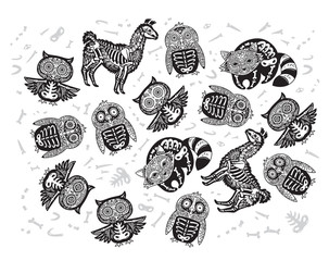 Halloween set of sugar skull animals in contour. Owl, penguin, llama and raccoon