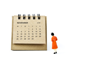 November. Calendar sheet and miniature plastic woman on white background.