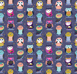 Cute cartoon decorative owls seamless pattern. Vector illustration