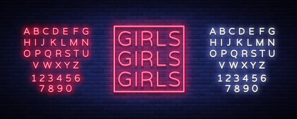 Girls neon sign. Night light sign, Erotica, Striptease, Neon banner for strip club. Adult show. Vector illustration. Editing text neon sign