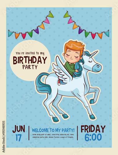 Happy Birthday Invitation Kids Card Vector Illustration
