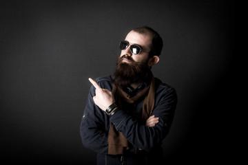 male model shoots in studio environment