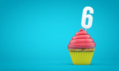 Number 6 birthday celebration cupcake. 3D Rendering
