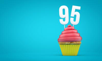 Number 95 birthday celebration cupcake. 3D Rendering
